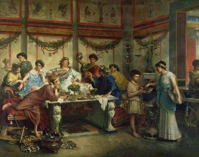 A Roman Feast de Roberto Bompiani (1821 - 1908)