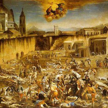 Plaza del mercado de Nápoles durante la Peste Negra de Micco Spadaro